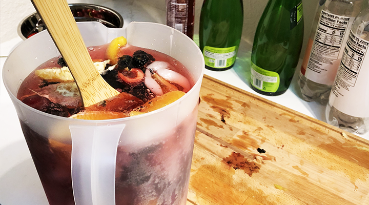 Add chopped fruit to the pitcher for low-sugar sangria.
