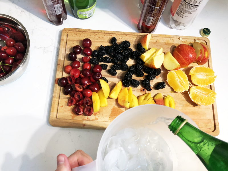Add sparkling water to low-sugar sangria.