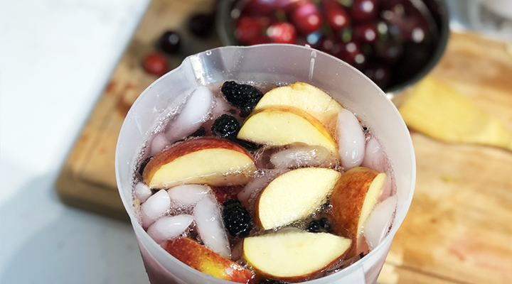 Chill in the refrigerator and enjoy low-sugar sangria on ice.